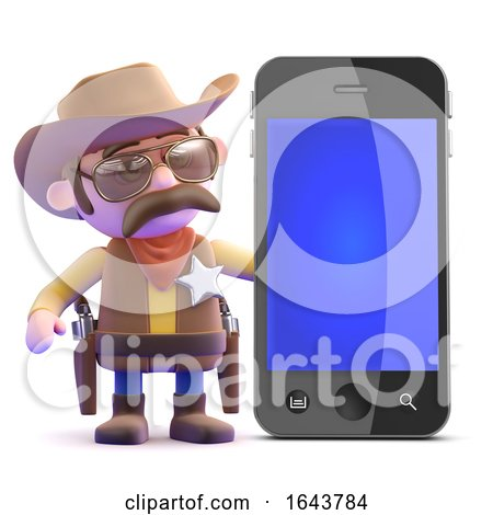 3d Cowboy Sheriff Next to a Smartphone by Steve Young