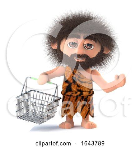 3d Savage Caveman Goes Shopping with His Basket by Steve Young