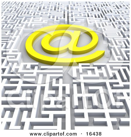 Bright Yellow At Symbol In The Center Of A Confusing Maze  Posters, Art Prints