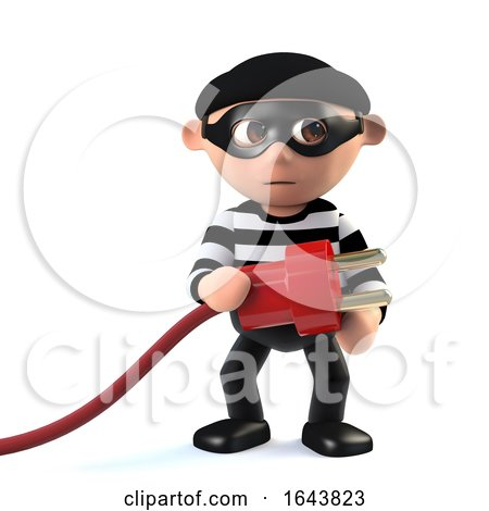 3d Funny Cartoon Criminal Burglar Character Holding a Power Lead by Steve Young