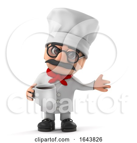 3d Funny Cartoon Italian Pizza Chef Character Drinking a Cup of Coffee by Steve Young