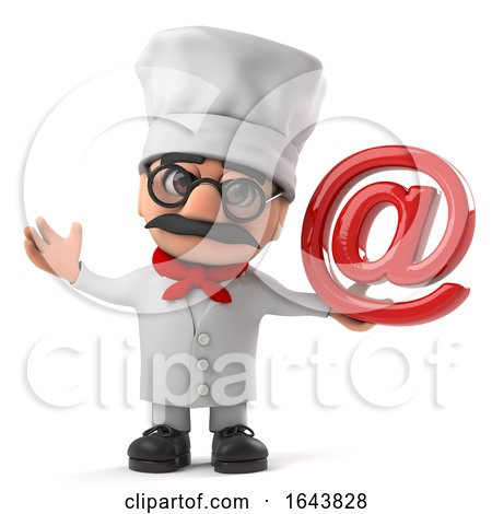 3d Cartoon Italian Pizza Chef Character Has an Email Address Symbol by Steve Young