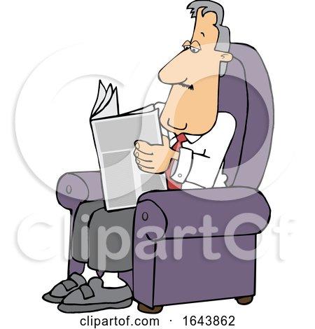 Cartoon White Businessman Reading a Newspaper in a Chair by djart