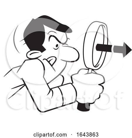 Cartoon Black and White Man Peering Through a Magnifying Glass by Johnny Sajem