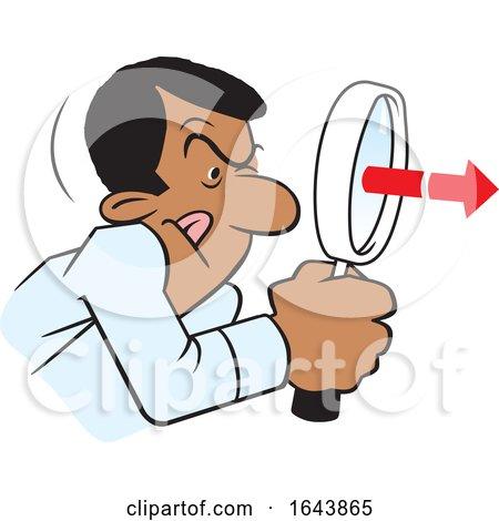Cartoon Black Man Peering Through a Magnifying Glass by Johnny Sajem