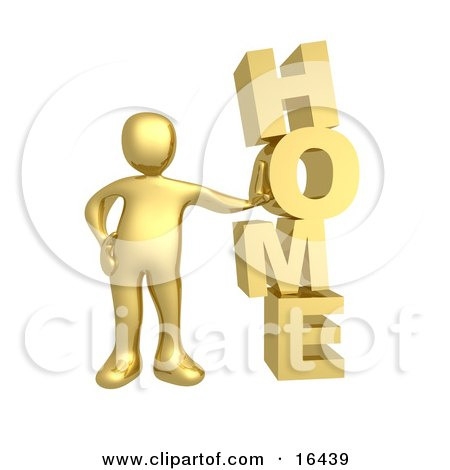 Gold Person Leaning Against the Vertical Word HOME Clipart Illustration Graphic by 3poD