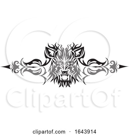 Black and White Lion Face Tribal Tattoo Design by Morphart Creations