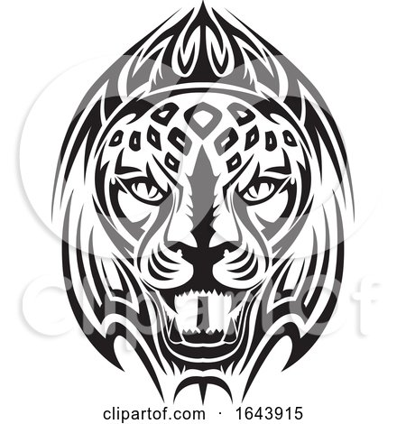 Black and White Lion Face Tattoo Design by Morphart Creations