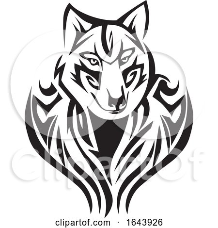 Black and White Fox Face Tattoo Design by Morphart Creations