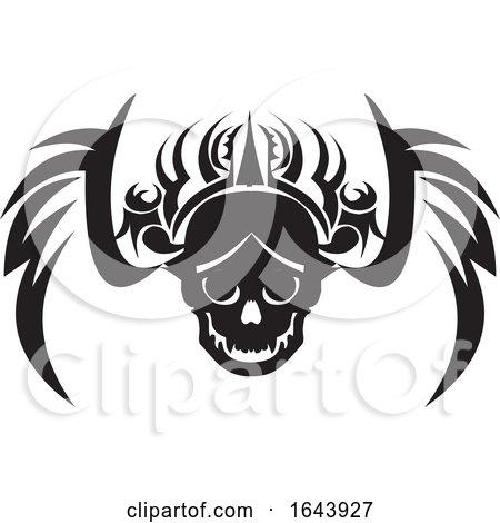 Black and White Tribal Skull Tattoo Design by Morphart Creations