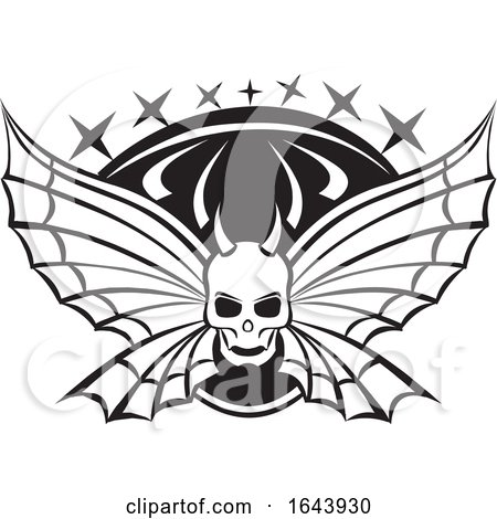 Black and White Tribal Skull with Butterfly Wings Tattoo Design Posters, Art Prints