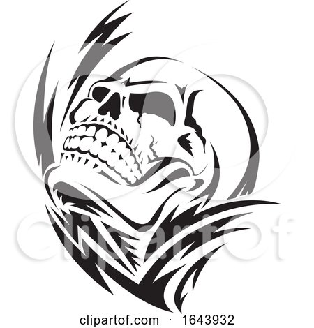 Black and White Human Skull Tattoo Design by Morphart Creations