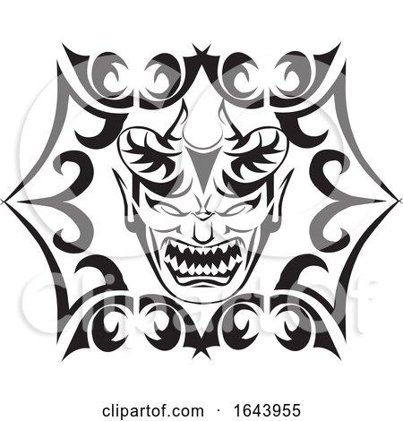 Black and White Tribal Monster Tattoo Design by Morphart Creations
