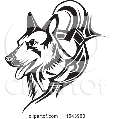 Black and White German Shepherd Dog Tattoo Design by Morphart Creations