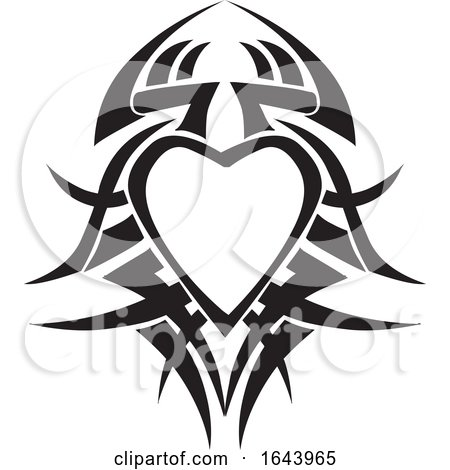 Black and White Tribal Heart Tattoo Design Posters, Art Prints