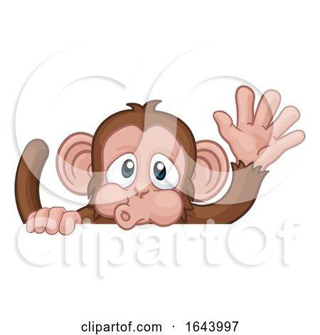 Monkey Cartoon Animal Behind Sign Waving by AtStockIllustration
