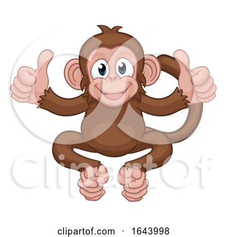 Monkey Cartoon Animal Giving Double Thumbs up by AtStockIllustration