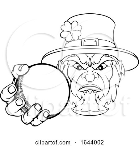 Leprechaun Holding Cricket Ball Sports Mascot by AtStockIllustration