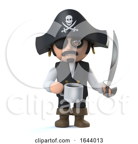 3d Cute Pirate Captain Is Taking a Coffee Break by Steve Young