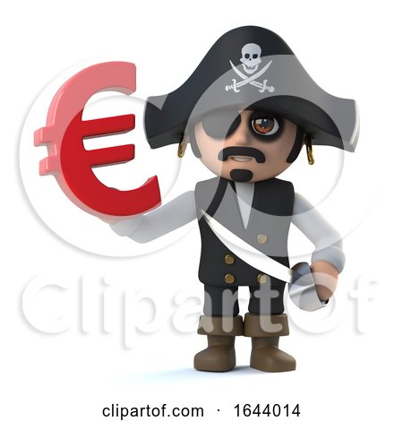 3d Pirate Captain Holds Euro Currency Symbol by Steve Young