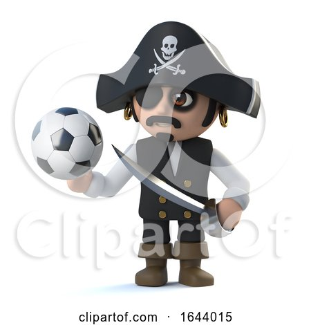 3d Cute Pirate Captain Loves Soccer by Steve Young