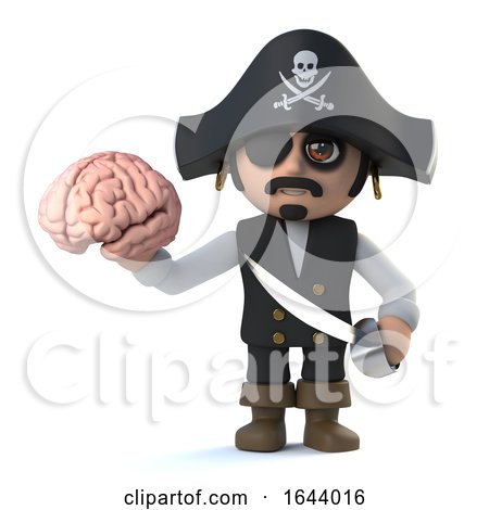 3d Funny Cartoon Pirate Captain Character Holding a Human Brain by Steve Young