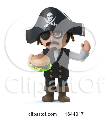 3d Cute Pirate Captain Eats a Cheese Burger by Steve Young