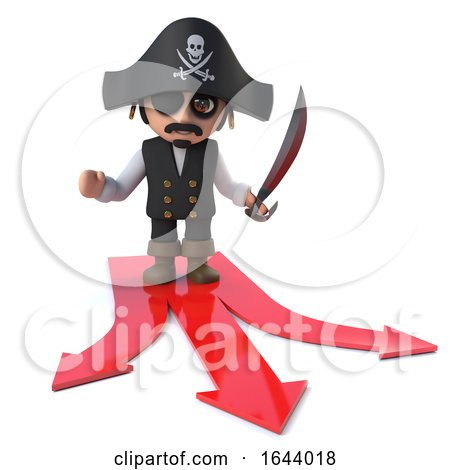 3d Funny Pirate Captain Character Has a Decision to Make by Steve Young