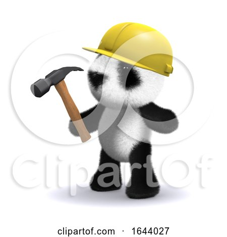 3d Baby Panda Bear Working Construction with Hammer by Steve Young