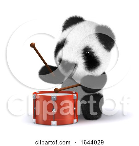 3d Drummer Panda by Steve Young