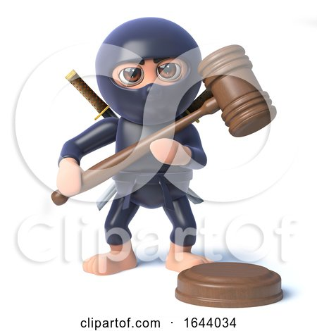 3d Funny Cartoon Ninja Assassin Character Holds an Auction by Steve Young