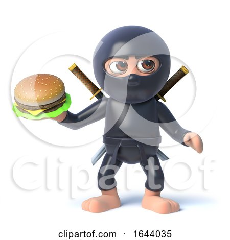 3d Cartoon Ninja Assassin Character Holding a Beef Burger Snack by Steve Young