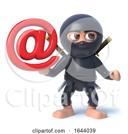 3d Funny Cartoon Ninja Assassin Character Holding an Email Address Symbol by Steve Young