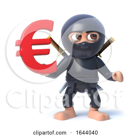 3d Funny Cartoon Ninja Warrior Assassin Character Holding a Euro Currency Symbol by Steve Young
