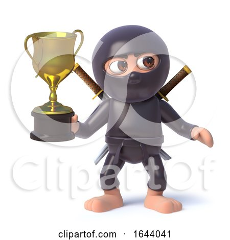 3d Funny Cartoon Ninja Assassin Warrior Character Holding a Gold Cup Trophy Award by Steve Young