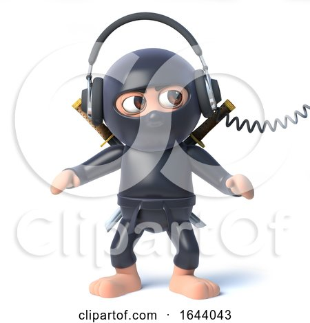 3d Funny Cartoon Ninja Assassin Listening to Headphones by Steve Young