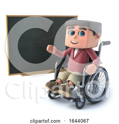 3d Boy in Wheelchair at a Blackboard by Steve Young