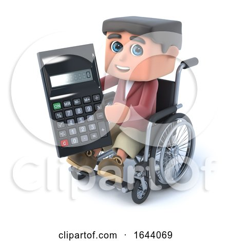 3d Boy in Wheelchair Has a Calculator by Steve Young