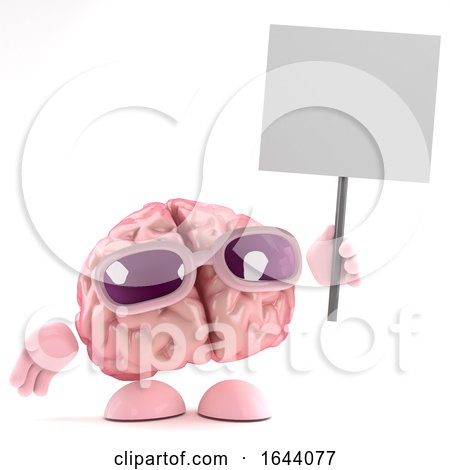 3d Brain Holds up a Placard by Steve Young