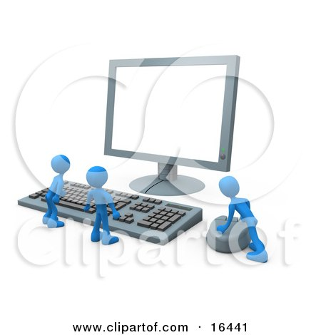 Two Tiny Blue Employees Standing In Front Of A Computer Keyboard And Looking Up At A Flat Screen Lcd Monitor Screen While One Person Operates The Mouse  Posters, Art Prints