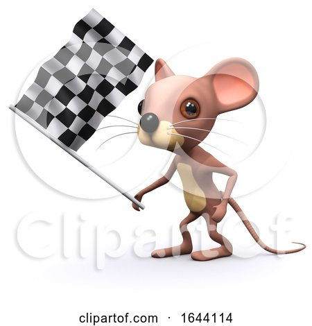 3d Mouse Waves the Checkered Flag by Steve Young