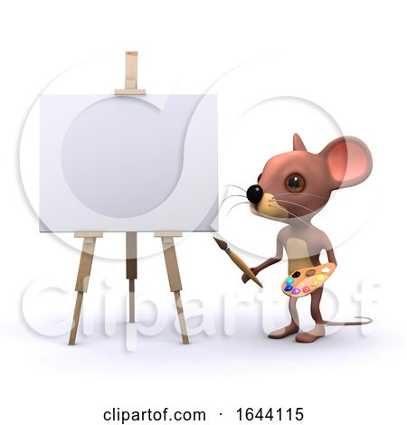 3d Mouse Character Painting at an Easel with Brush and Palette by Steve Young