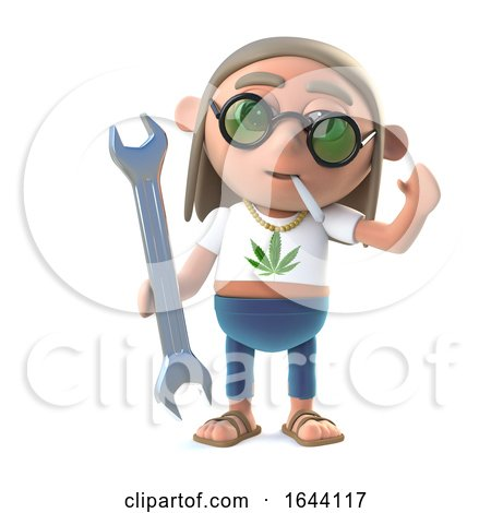 3d Stoner Hippie Holding a Spanner by Steve Young
