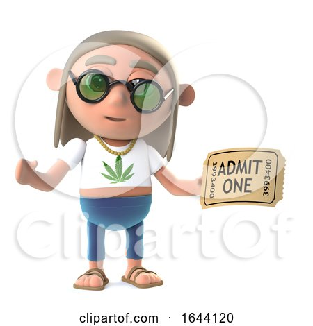3d Funny Cartoon Hippy Stoner Character Holding an Admission Ticket to a Show Posters, Art Prints