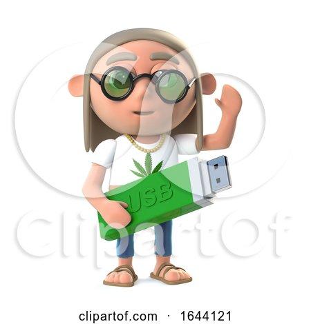 3d Funny Cartoon Hippy Stoner Has a Usb Memory Stick Posters, Art Prints