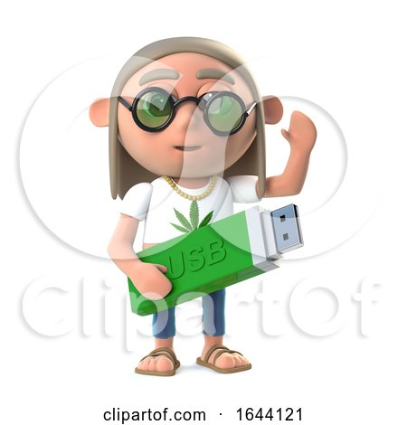3d Funny Cartoon Hippy Stoner Has a Usb Memory Stick by Steve Young