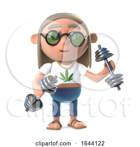 3d Funny Cartoon Hippy Stoner Character Working out with Gym Weights by Steve Young