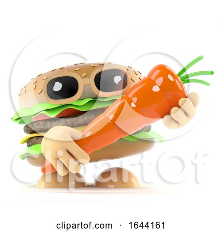 3d Beefburger Holding a Carrot... by Steve Young