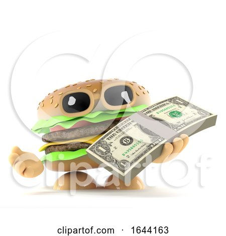 3d Burger Has a Wad of US Dollars by Steve Young