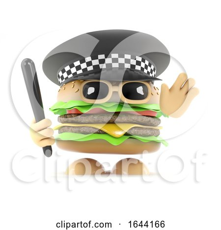 3d Police Burger by Steve Young